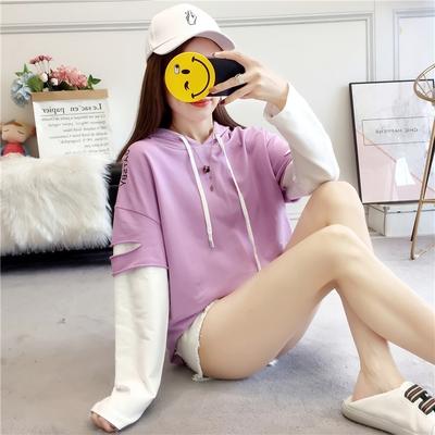 【現貨51】連帽上衣 韓版新款長袖T恤假兩件連帽T恤破洞拼色拼接上衣 M~紫色