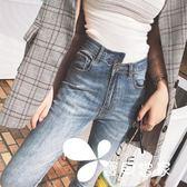 高腰不規則網紅九分牛仔褲女春秋2018新款韓版顯瘦加絨緊身小腳褲