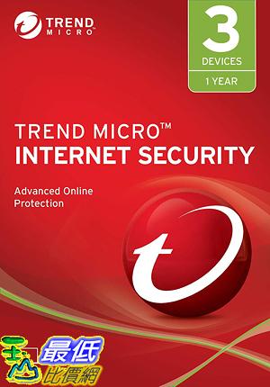 [8美國直購] 暢銷軟體 Trend Micro Internet Security 2019, 3 User [Key Code] 2019