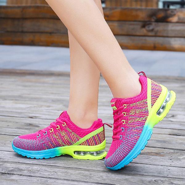 氣墊運動鞋 新款半掌小氣墊 雙色高透氣飛織鞋