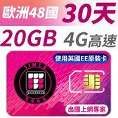 【TPHONE上網專家】歐洲全區48國20GB超大流量高速上網卡 支援4G高速 歐洲原裝卡最大流量 30天