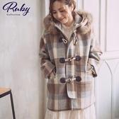 外套 牛角釦格紋毛領連帽毛呢短版大衣外套-Ruby s 露比午茶