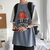 港風T恤男韓版潮流假兩件籃球衣服半袖潮ins五分袖寬鬆短袖夏 【ifashion·全店免運】