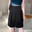 西裝短褲女夏季薄款大碼寬松胖mm高腰顯瘦直筒五分a字外穿闊腿褲 快速出貨