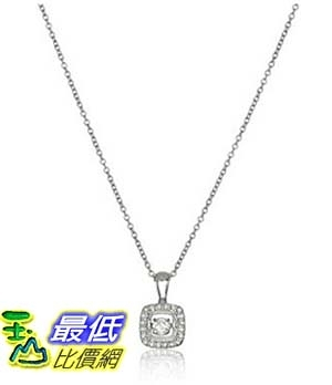 [美國直購] Sterling Silver and Diamond Square Dancing Pendant Necklace (1/5cttw, I-J Color, I3 Clarity), 18 項鍊