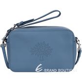 MULBERRY Blossom 小牛皮點狀圖騰手拿/斜背包(藍灰色) 1530303-85