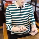 POLO衫 t恤男士長袖2021新款棉質翻領條紋上衣中青年男裝春秋季打底衣服 8號店
