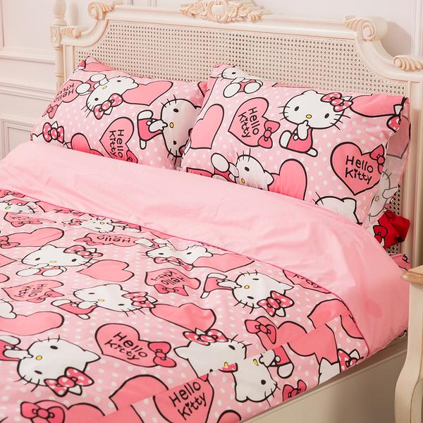 【Jenny Silk名床】Hello Kitty.粉紅佳人.特大雙人床包組.全程臺灣製造