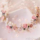 小公舉髮飾 兒童頭飾女童公主發飾粉色陶瓷發箍花童頭飾韓國珍珠頭箍皇冠頭花 玩趣3C