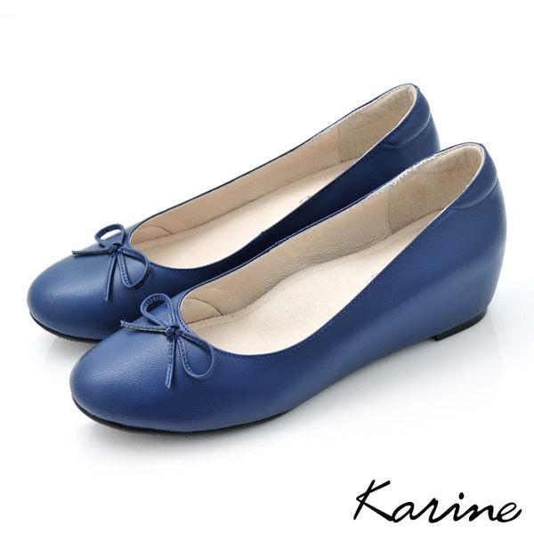 全真皮內增高楔型娃娃鞋-寶藍色‧MIT台灣製‧karine