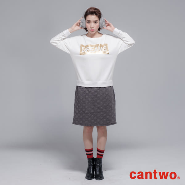 cantwo金箔印刷泡泡假兩件洋裝(共三色)~網路獨家優惠