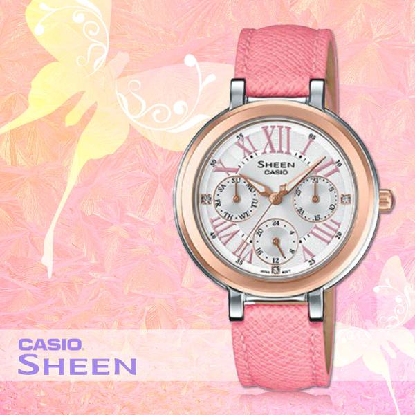 CASIO 手錶專賣店 CASIO SHEEN SHE-3034BGL-7A 玫瑰金 施華洛世奇 三眼 女錶