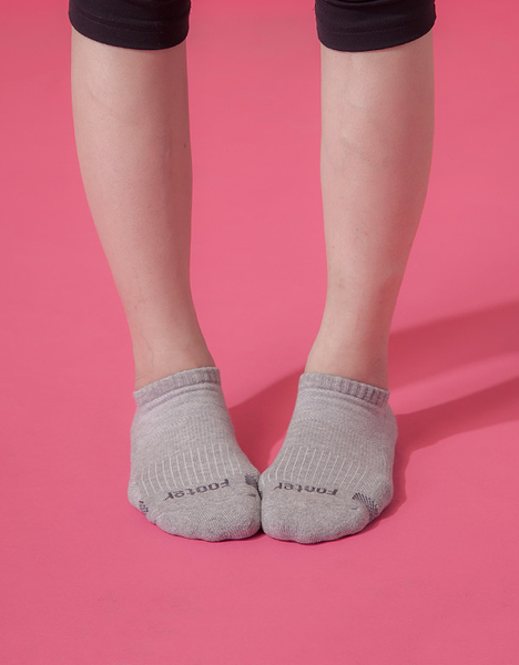 【 Footer 除臭襪】單色運動逆氣流氣墊船短襪 淺灰 22-25CM 女 (任選6雙960元)