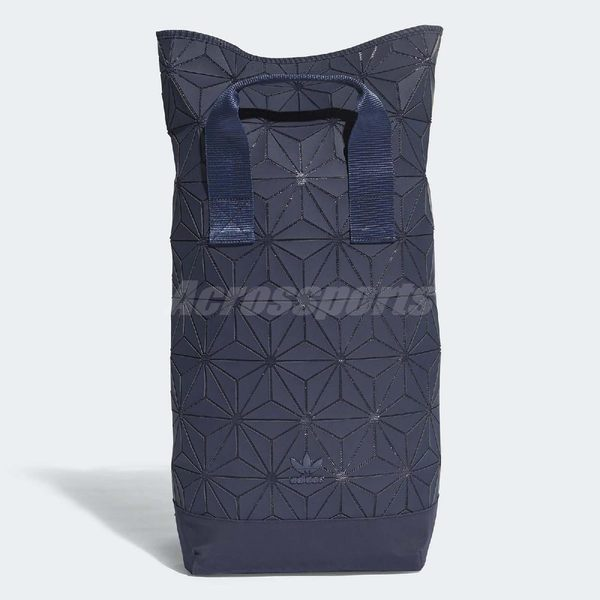 adidas 後背包 Originals 3D Roll Top Backpack 三宅一生 藍 深藍 立體格紋 男女款【PUMP306】 DT6295