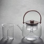 玻璃水壺-可蒸茶防燙手提木蓋茶壺2款74aj4[時尚巴黎]