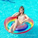 【現貨】彩虹泳圈 半透明 120CM 大泳具 造型泳具 大型泳圈 浮板 充氣玩具 直播小物 游泳圈