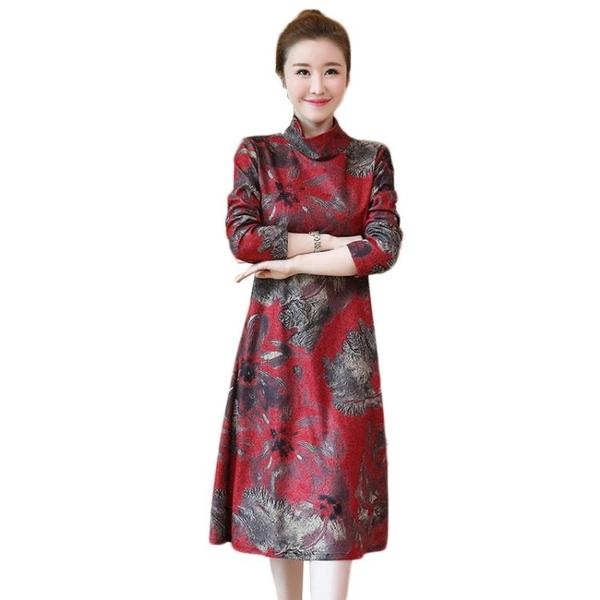 降價兩天 大碼女裝 新款寬松洋氣遮肚子連身裙 秋冬洋裝加絨加厚高領打底裙子減齡