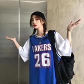 球衣短袖T恤女夏季韓版BF風假兩件球服寬鬆顯瘦街頭嘻哈上衣男女潮