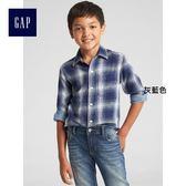Gap男童 純棉雙層梭織格紋長袖襯衫 370538-灰藍色