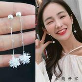 韓版氣質超仙水晶冰花耳環純銀個性耳釘