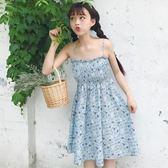 洋裝 春夏新款女裝2018韓版甜美高腰顯瘦雪紡碎花吊帶裙無袖學生連身裙【一件免運】