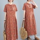 洋裝 中大尺碼女裝 文藝復古2021夏季新款寬鬆顯瘦印花棉麻中長款連身裙大碼胖mm