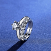 莫桑石戒指(兩件套)-1克拉D色8心8箭925純銀女飾品73yk2{附GRA證書}【時尚巴黎】