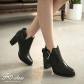 靴.美型V裁扣環高跟踝靴-FM時尚美鞋.cheek