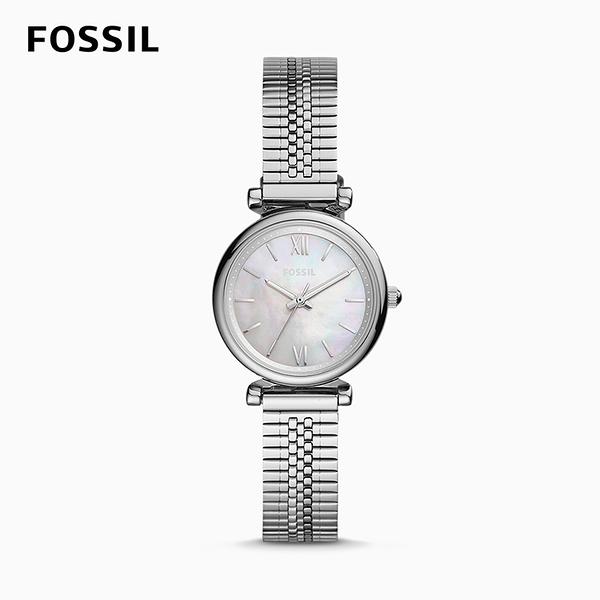 FOSSIL CARLIE MINI 小卡莉優美氣質石英女錶-亮銀不銹鋼鍊帶 28MM ES4695