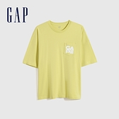 Gap男裝 厚磅密織系列Logo貼袋純棉寬鬆T恤 697708-黃色