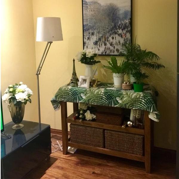 [超豐國際]獨特風格綠色大葉子大花臺布餐桌布茶幾布書桌布蓋布1入