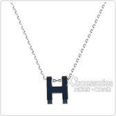 HERMES愛馬仕POP經典H字母立體簍空橢圓LOGO鎖骨項鍊(深藍x銀)