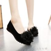 新款老北京布鞋無聲工作鞋女黑色軟底防滑耐磨女鞋淺口花朵休閒鞋 雙十二全館免運