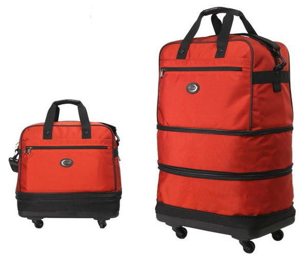 Backbager 背包族【YESON永生】台灣製造 可摺疊式三層輪袋/ 旅行袋-中(紅色/黑色 )