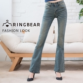 修身--簡約顯瘦質感刷色復古潑水痕中低腰小喇叭牛仔褲(牛仔藍S-7L)-N86眼圈熊中大尺碼◎