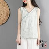 中國風復古文藝漢服棉麻上衣女 無袖茶服寬鬆打底外穿吊帶背心 萬聖節鉅惠