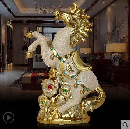 歐式陶瓷電鍍馬擺件馬到成功招財辦公室書房裝飾開業喬遷商務禮品
