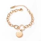 【5折超值價】時尚精美愛心圓環設計造型女款鈦鋼手鏈