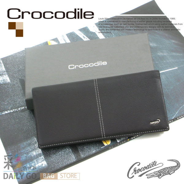 Crocodile鱷魚皮夾真皮長夾男夾皮包-長皮夾0203-36012咖啡