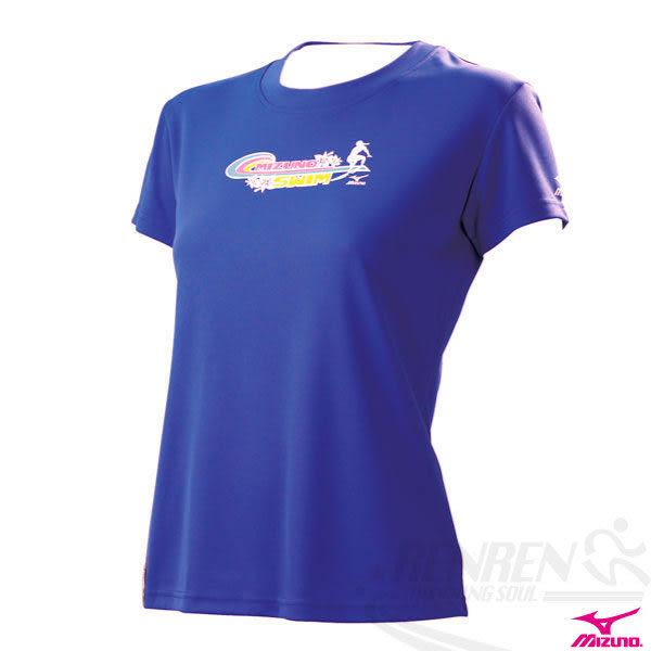 MIZUNO美津濃 女衝浪風短袖T恤(紫),吸濕快排 ,經典賽贊助品牌。