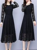 長袖連身裙黑色蕾絲連身裙女裝2020春秋季長袖名媛氣質大碼長款打底長裙春季新品