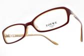 LOEWE 光學眼鏡 VLW837K 9CX (紅棕-象牙) 簍空LOGO方框款 # 金橘眼鏡