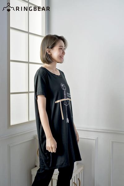 長版上衣--芭蕾女孩與小貓可愛印圖棉質舒適長版T恤(黑.灰XL-5L)-D281眼圈熊中大尺碼◎