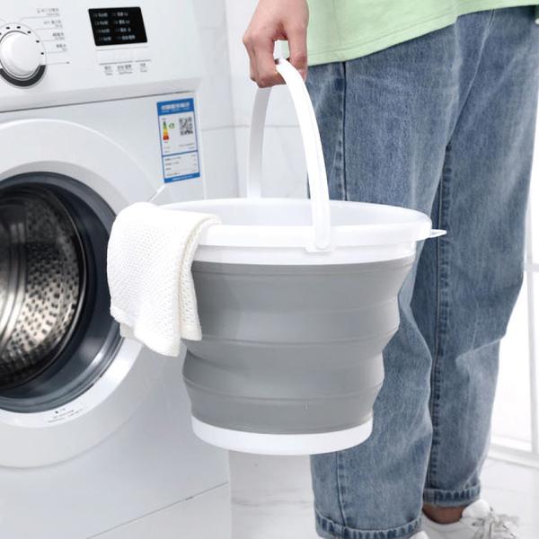 【NG福利品出清】矽膠折疊水桶-5L/PE7769/戶外休閒用品/汽車清洗配件/收納桶