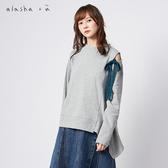 a la sha+a  特殊肩綁帶造型下擺上衣