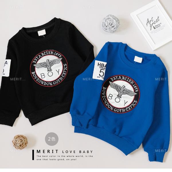 純棉 老鷹圓形圖騰個性銀皮革保暖上衣 內刷毛 保暖 男童上衣 長袖 大學T  哎北比童裝
