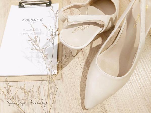 大尺碼女鞋小尺碼尖頭素面細跟鬆緊帶涼鞋中跟鞋高跟鞋(31-43)現貨#七日旅行