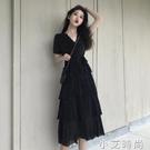 2021夏季新款法式小黑裙顯瘦輕熟氣質長裙赫本風可甜可鹽洋裝女 小艾新品