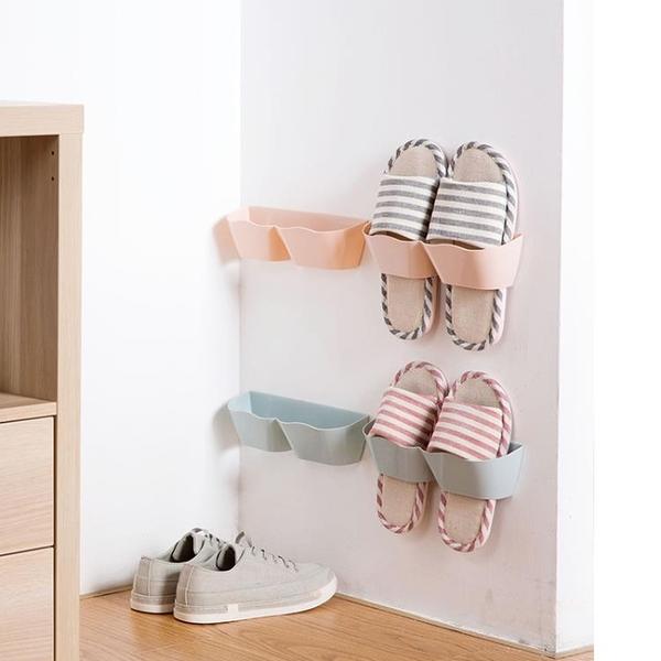 [超豐國際]壁掛式立體鞋架墻上拖鞋架子家用客廳簡易粘貼式鞋子收納架