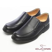 CUMAR都會型男●萬年不敗款牛皮氣墊鞋-黑色